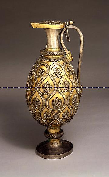 Sassanian Silver Gilt Ewer With A Foliate Design Silver
