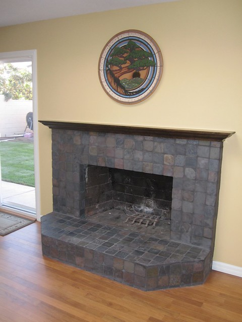 Slate Stone Fireplace With Maple Mantle Flickr Photo Sharing