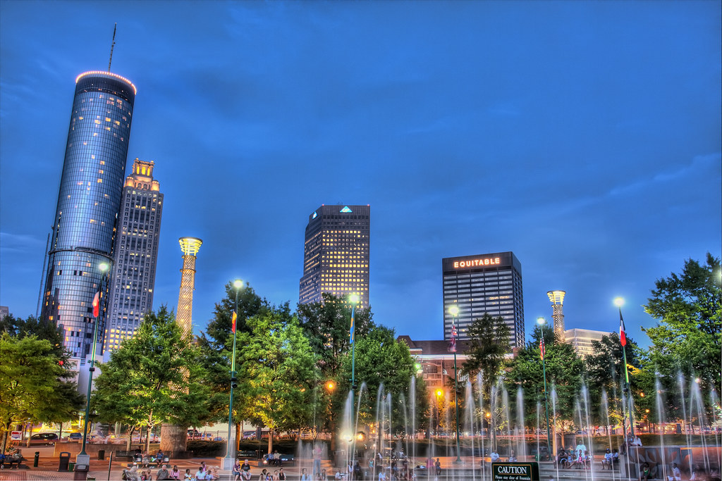 centennial park olympic fountains and city at night flickr. Black Bedroom Furniture Sets. Home Design Ideas