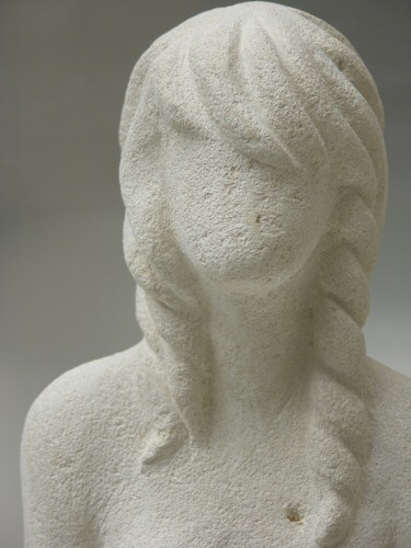 Sculpture Pierre Visage Femme Sans Traits Cheveux Sandrine Flickr
