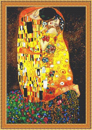 Klimt Large Kiss Cross Stitch Pattern Download This