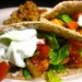 Red Curry Chicken Pitas w/ Tzatziki & a side of White Beans