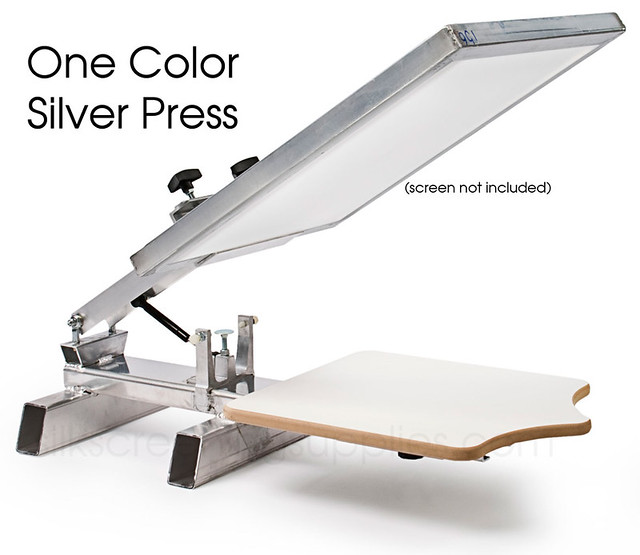 Screen printing silver press 1x1 table top the one color for Single shirt screen printing