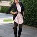 pink dress black blazer 1