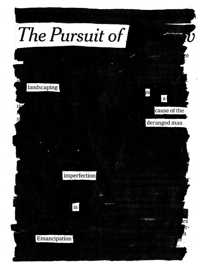 "... Pursuit of Landscaping"" from NEWSPAPER BLACKOUT 