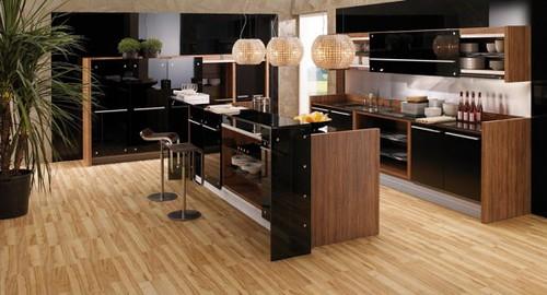 Modern Kitchen White Cabinets Hardwood Floors
