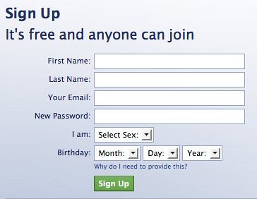Facebook's signup page | The information Facebook requires ...