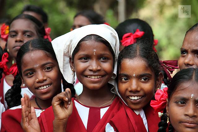 Smiling School Girls, Mamallapuram, Tamil Nadu  Smiling -5214