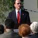President rush speaking at Dolphin Fountain Dedication