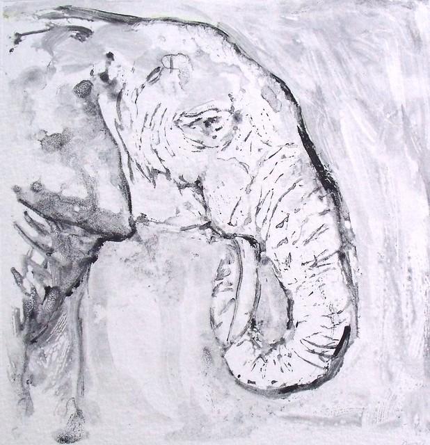 Elephant Monoprint Image Size 5 Quot X 5 Quot Paper Size 5 5