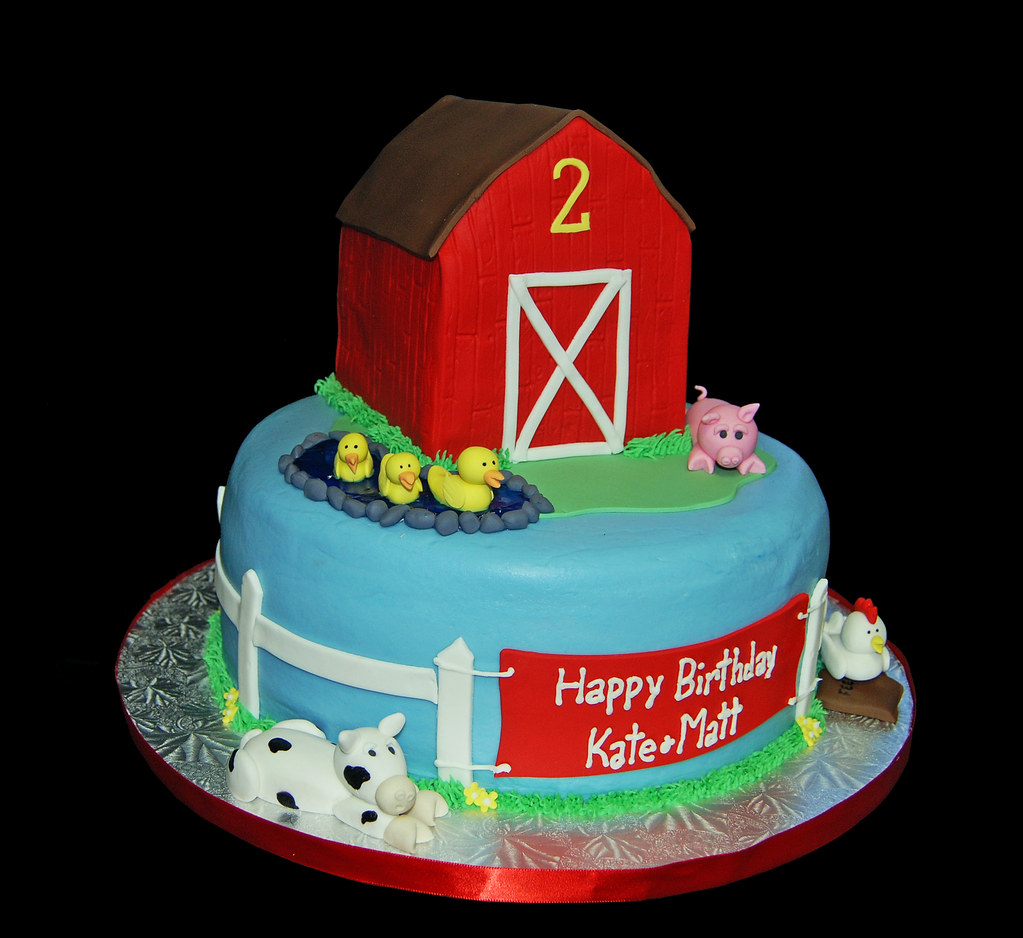 Farm Animal Themed 2nd Birthday Cake With Red Barn Ducks P