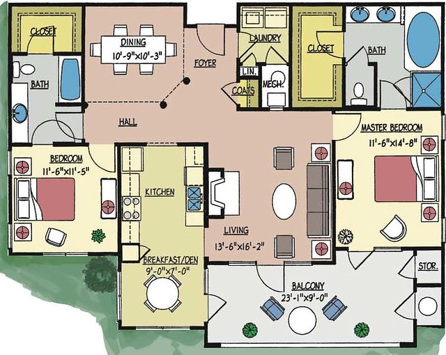 Condo 5056 floor plan 2 bedroom 2 bath third floor for 2 bedroom 2 bath condo floor plans