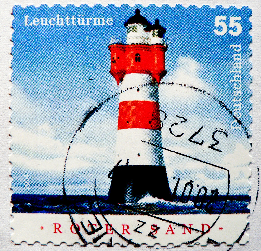 stamp germany 55c lighthouse roter sand leuchtturm light h