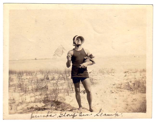 1920s Funny Photo Of Man In Swimsuit On Beach Tanktop Amer