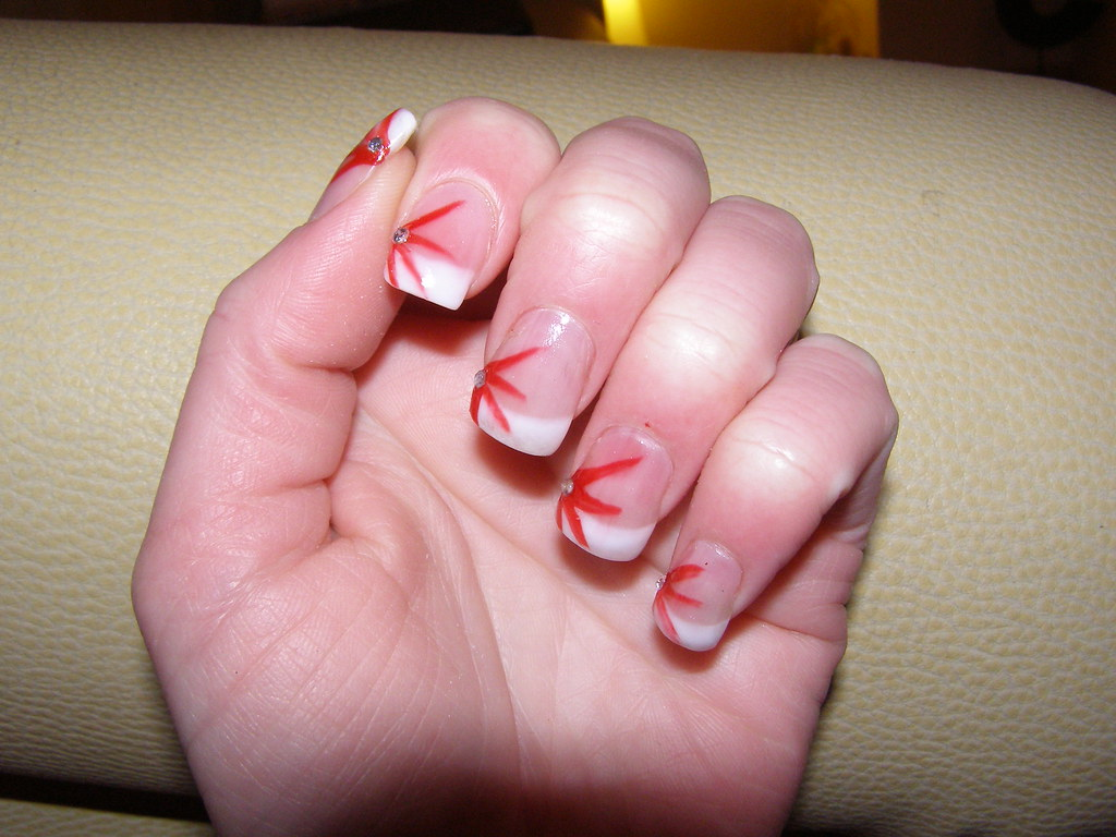 nail extensions with nail art | nail art with red stripes ...