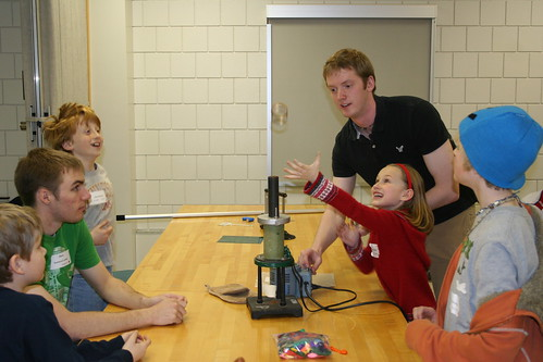 Faraday's law and jumping rings during Science on Saturday | by Gustavus Adolphus College