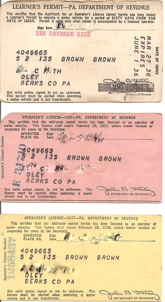 1936 PA Learner's Permit and 1936 and 1937 PA Driver Licen…   Flickr