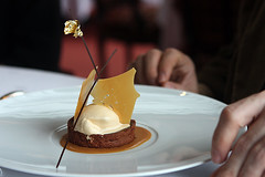 chocolate tart with salted caramel ice cream | by David Lebovitz