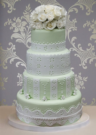 Eyelet Cake Eyelet Fabric Design Cake Topped With White