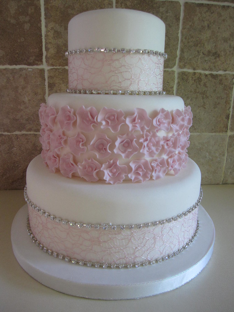 Diamante And Blossom Wedding Cake Dummy Cake With Lace Rib Flickr - Wedding Cake Dummy