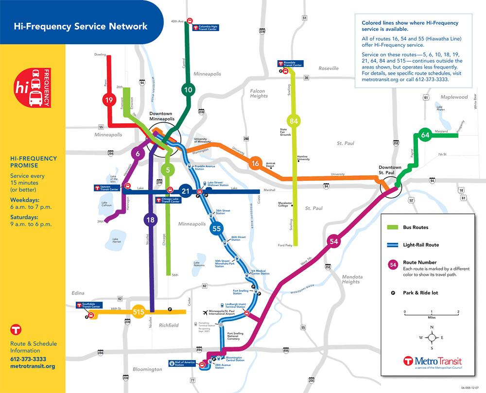 Minneapolis Metro Map Metro Transit High Frequency bus map, Minneapolis | Richard Layman  Minneapolis Metro Map