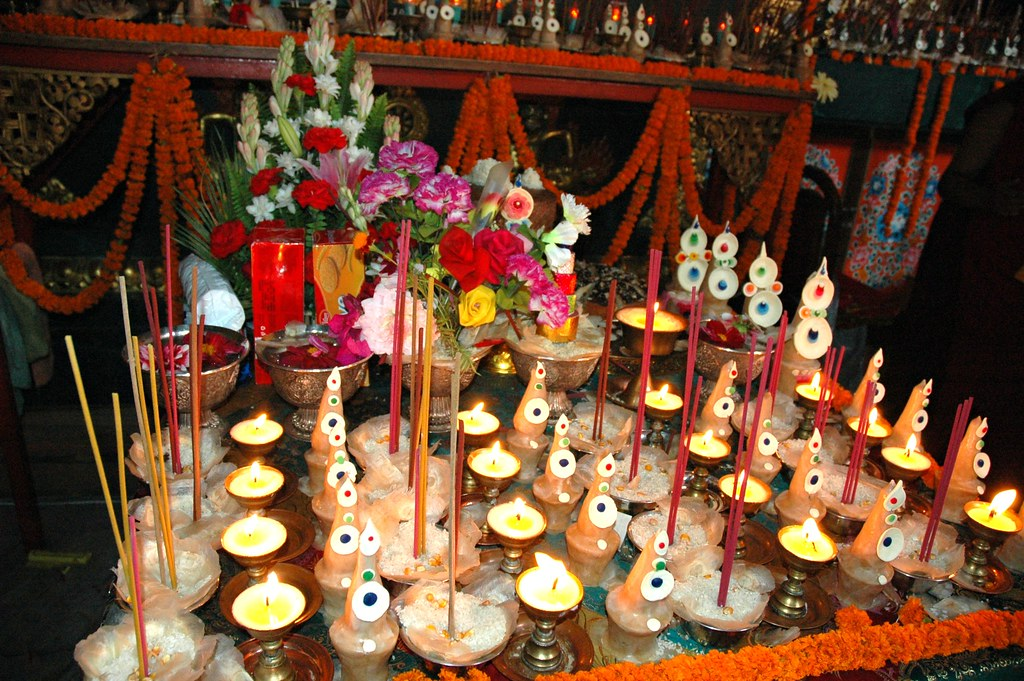 Bodhisattva Day Torma Incense Candles Flowers Ritual