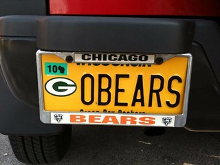 "How to start a fight in Wisconsin ""Go Bears"" Green Bay Packers vanity license plate 