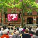 Graduation on Weld Hall large screen TV