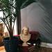 vintage jesus bust+palm plant+vintage encyclopedias+home decor