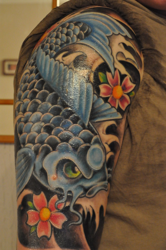 Blue koi fish tattoo ink by dom from abracadabra tattoo for Blue koi fish tattoo