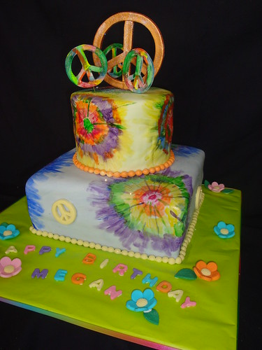 Peace Sign Tie Die Cake Rainbow Colors Inside Cake