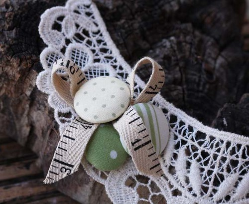 beige lace and tape measure with buttons necklace | by Katarina Roccella