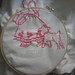 Emilia's baby blanket, ECU of Mary and her lamb