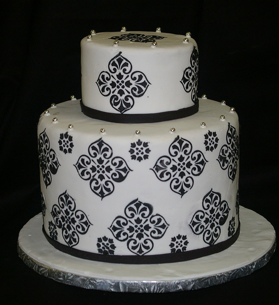 Wedding Cake Damask Mariage Arabesque Noir Et Blanc Flickr