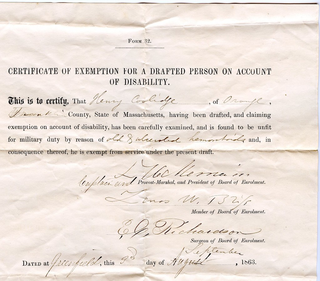 Certificate Of Exemption For A Drafted Person On Account O Flickr