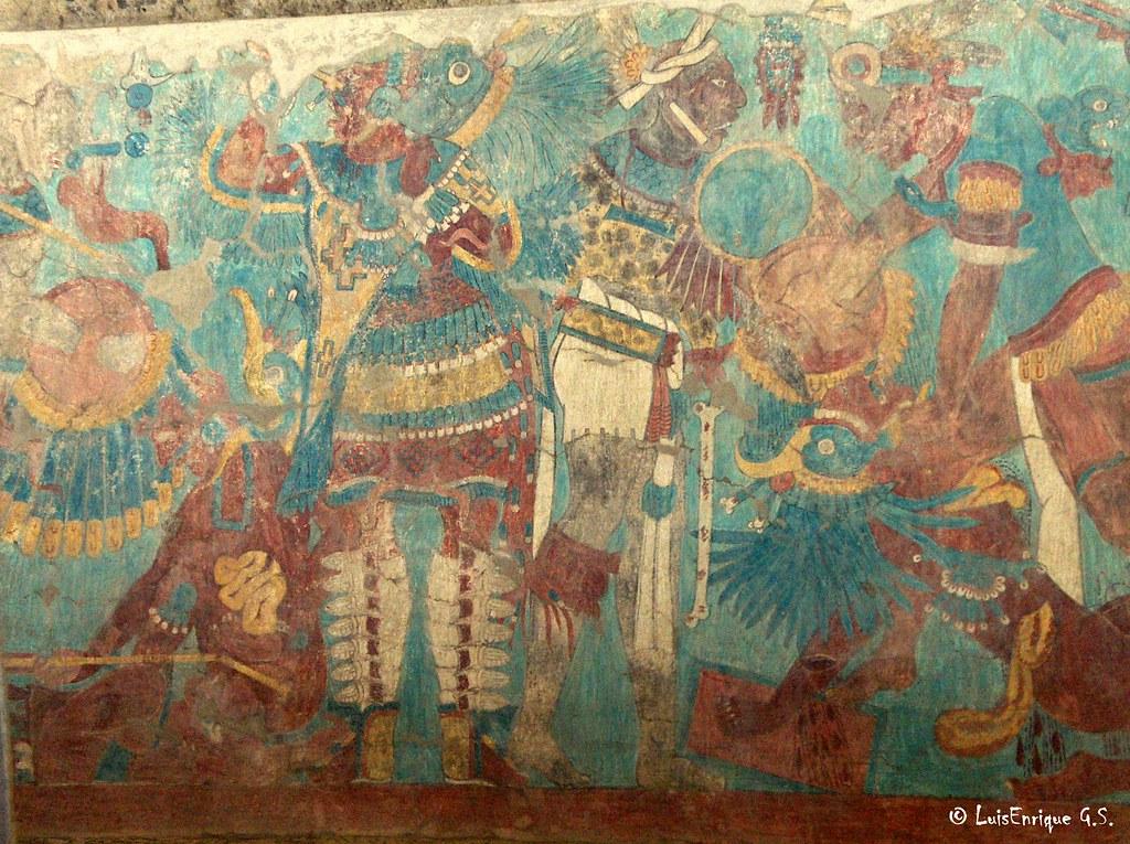 Cacaxtla mural la batalla por el poder mural battle for Siege mural rabattable