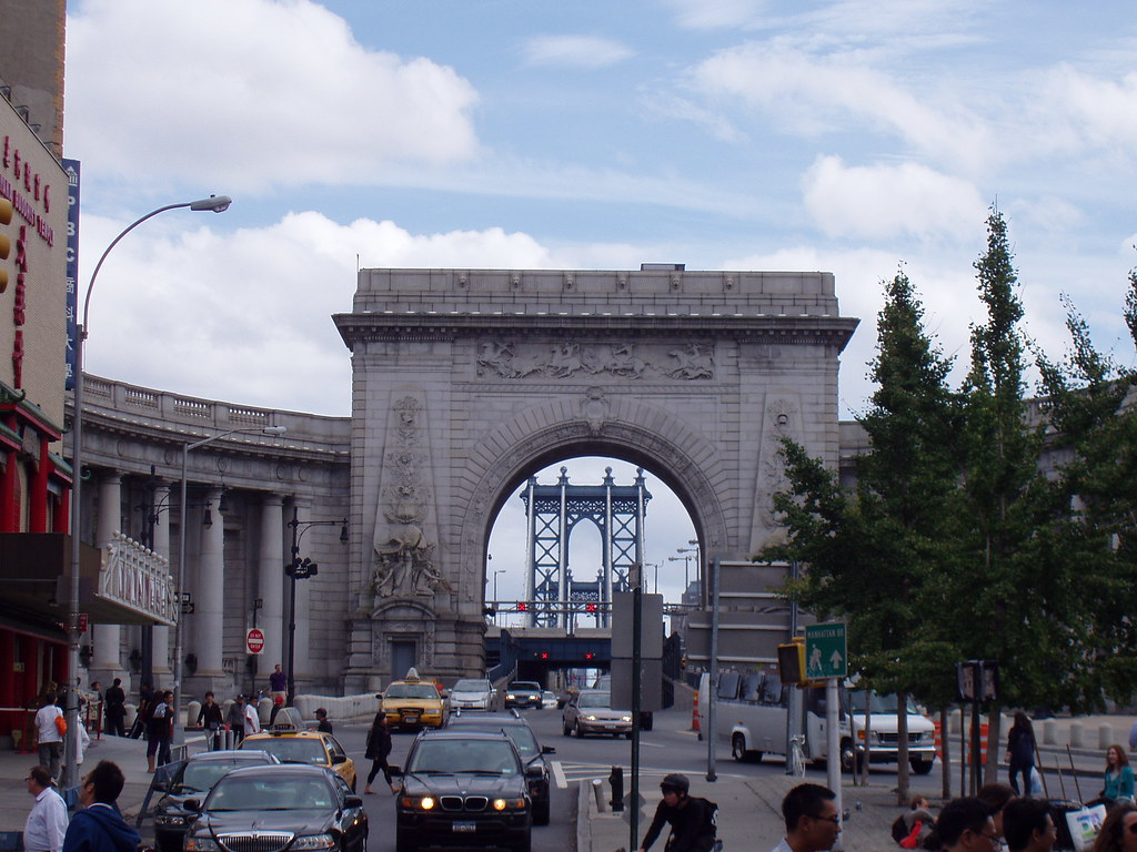 the Manhattan Bridge from Chinatown, New York
