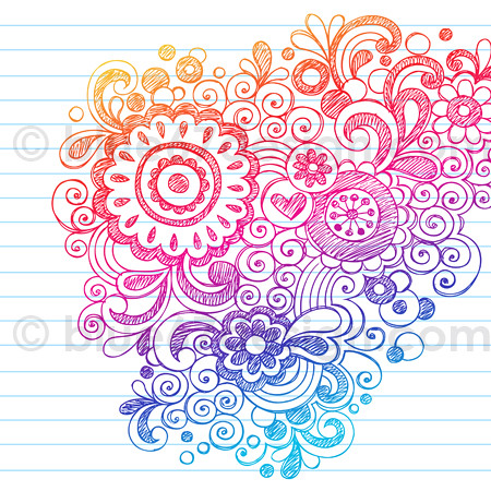 Hand drawn sketchy flowers notebook doodle design elements - Doodle dessin ...
