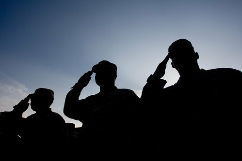 Georgia National Guardsmen salute during a Fall Warrior ceremony in Afghanistan | by The National Guard