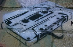 Audio Cassette Tape Stencil Graffiti - Bethnal Green, London E2 | by bobaliciouslondon
