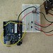 Inside SAW III digital voice recorder wired to Arduino