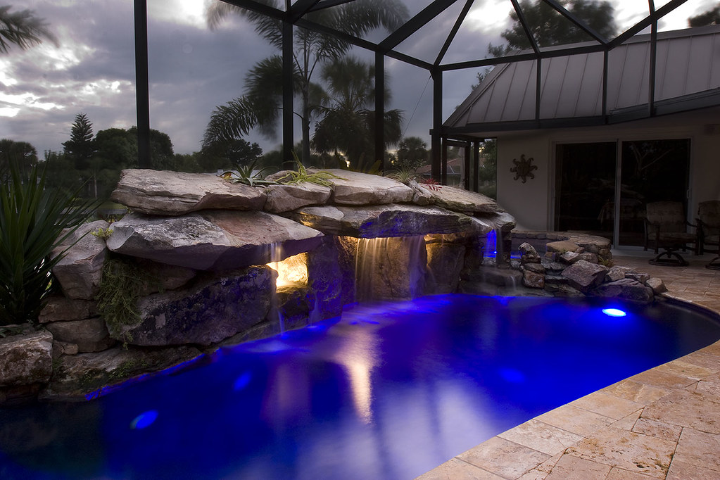 pool waterfall lighting. Pool Remodel With Underwater Lighting For Grotto Waterfall | By Lucas Congdon