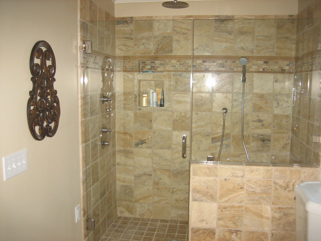 Large glass enclosed shower with rain shower head | An overs… | Flickr