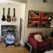Union Jack Flag print+rock n' roll video game room+rock band fake plastic instruments