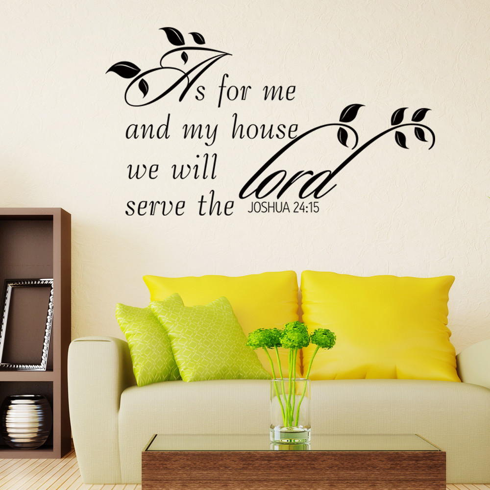 Scripture Bible Wall Decal Joshua As for Me Quote Vinyl Living Room ...