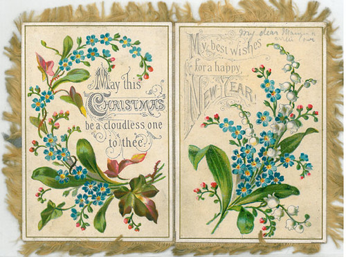 victorian flower design christmas card  side 1  m450 2
