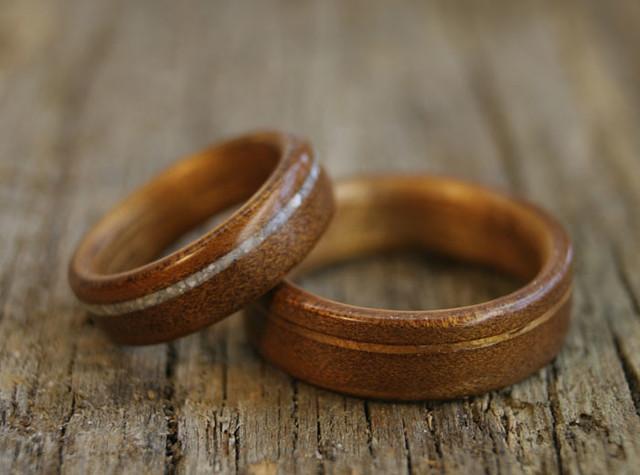 Ancient Kauri And Koa Wedding Rings
