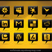 108 Glossy Black Comment Bubble Social Media Icons