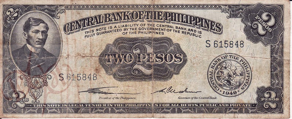 Central Bank Of The Philippines 2 Pesos 1949 A V