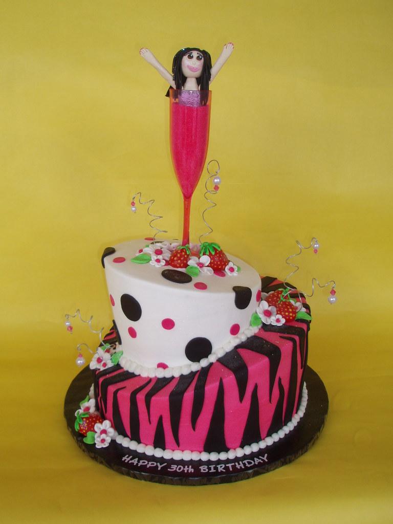 Whimsical Champagne 30th Birthday Cake Jennifer